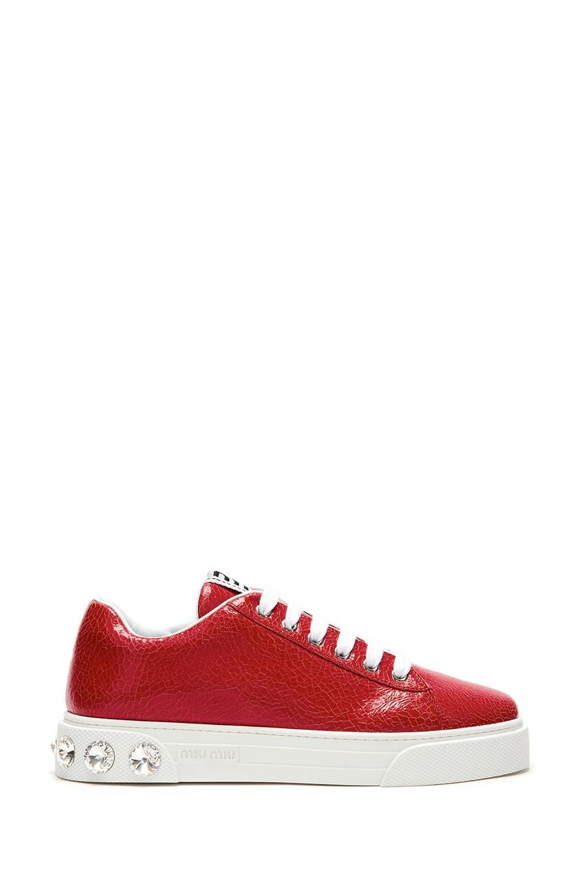 Красные кожаные кроссовки с кристаллами от Miu Miu