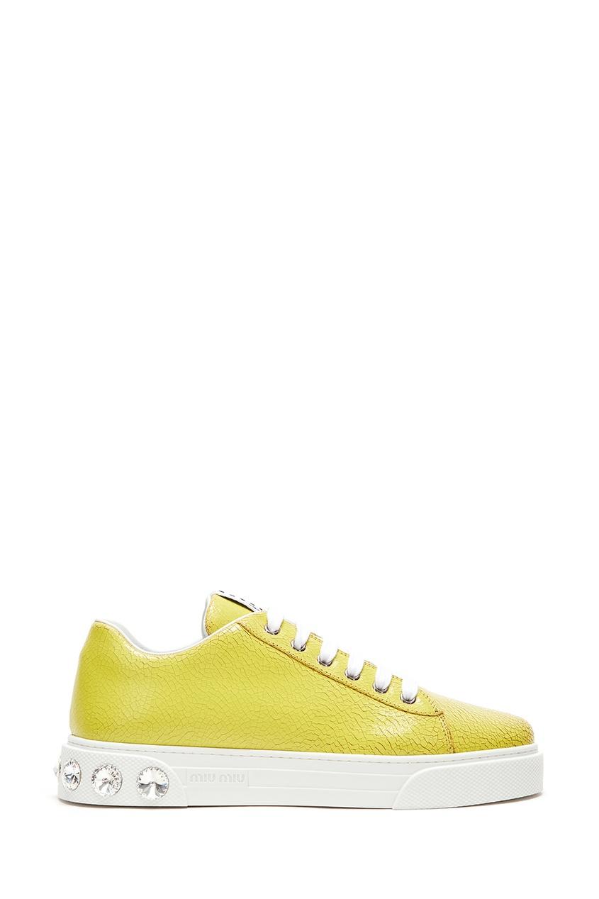 Купить Желтые кожаные кроссовки с кристаллами от Miu Miu желтого цвета