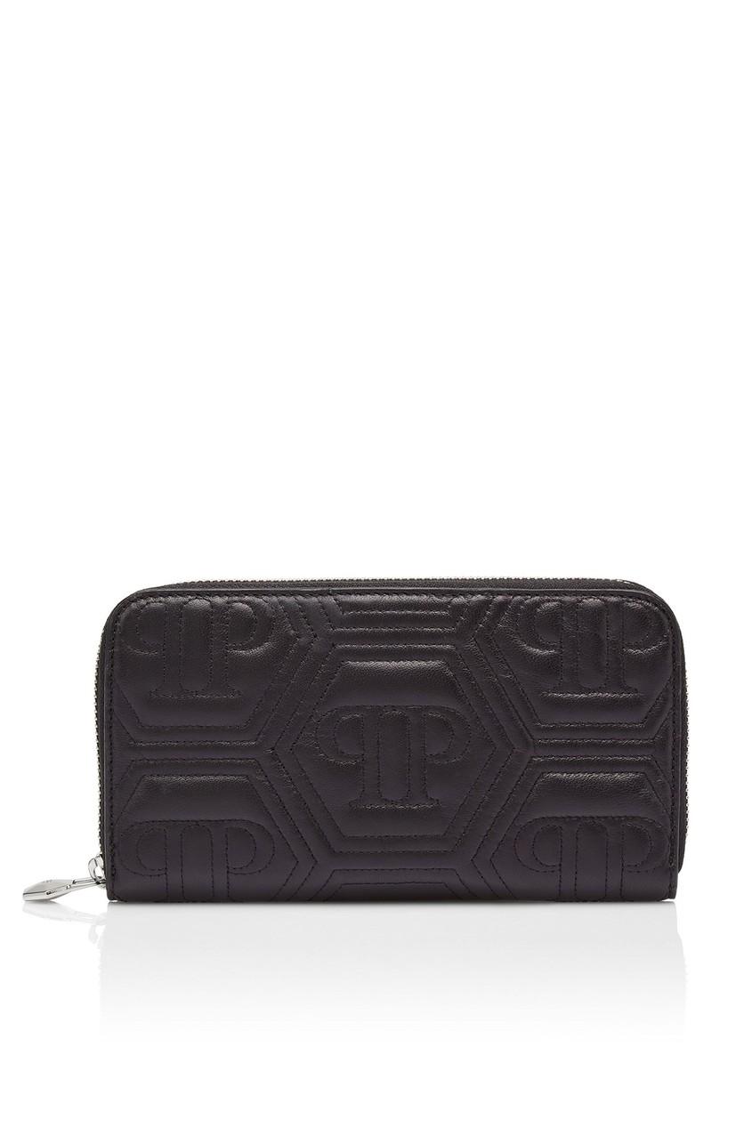 Купить Стеганый кошелек с монограммами от Philipp Plein черного цвета