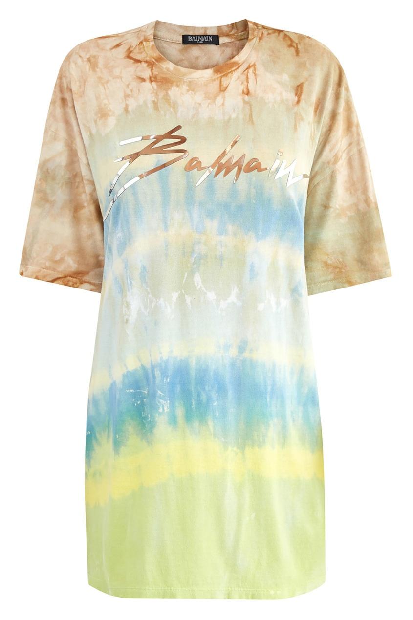 Купить Удлиненная футболка с принтом тай-дай от Balmain цвет multicolor