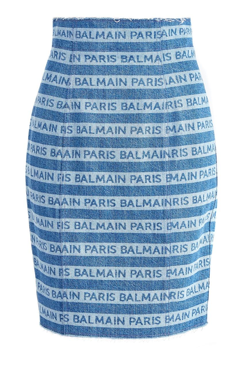 Купить Юбку из денима в полоску от Balmain голубого цвета