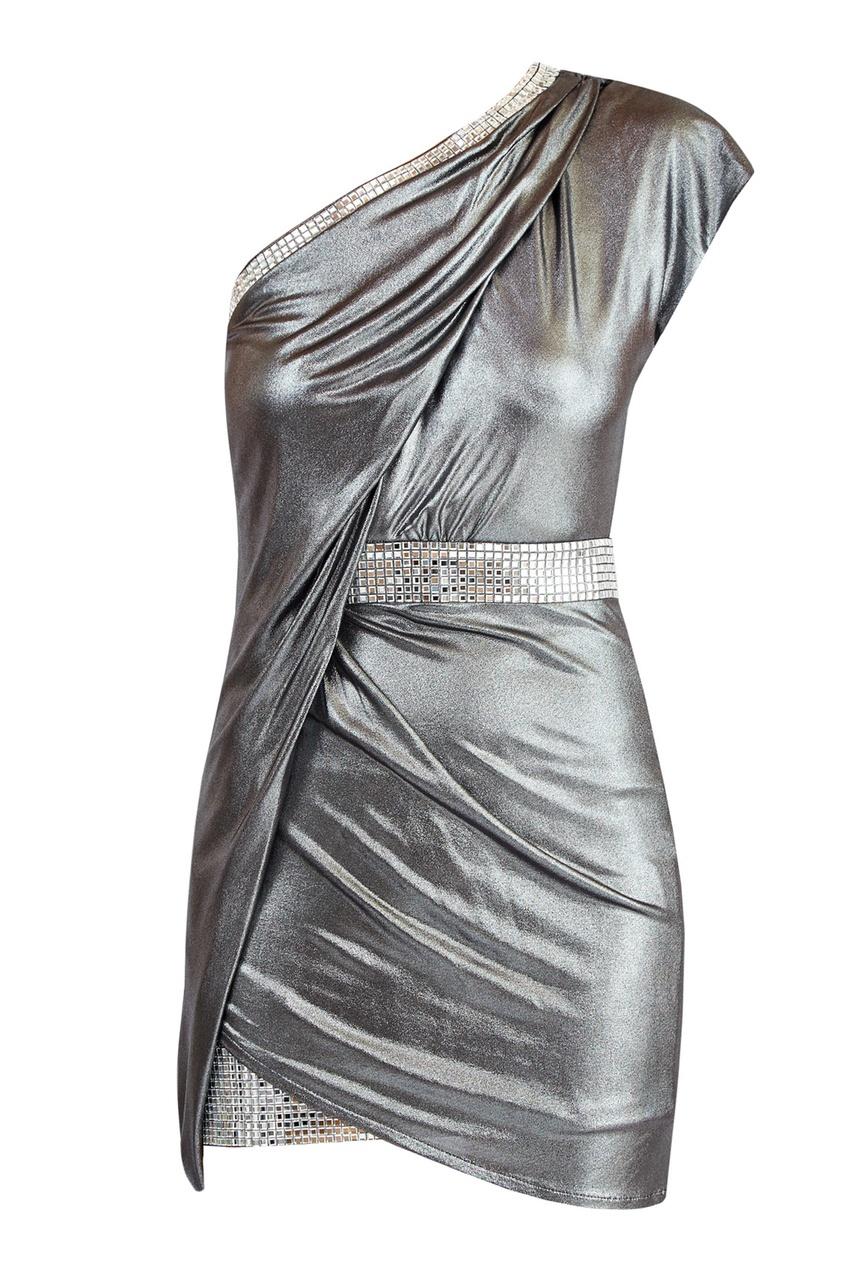 Купить Серебристое платье с кристаллами от Balmain серебрянного цвета