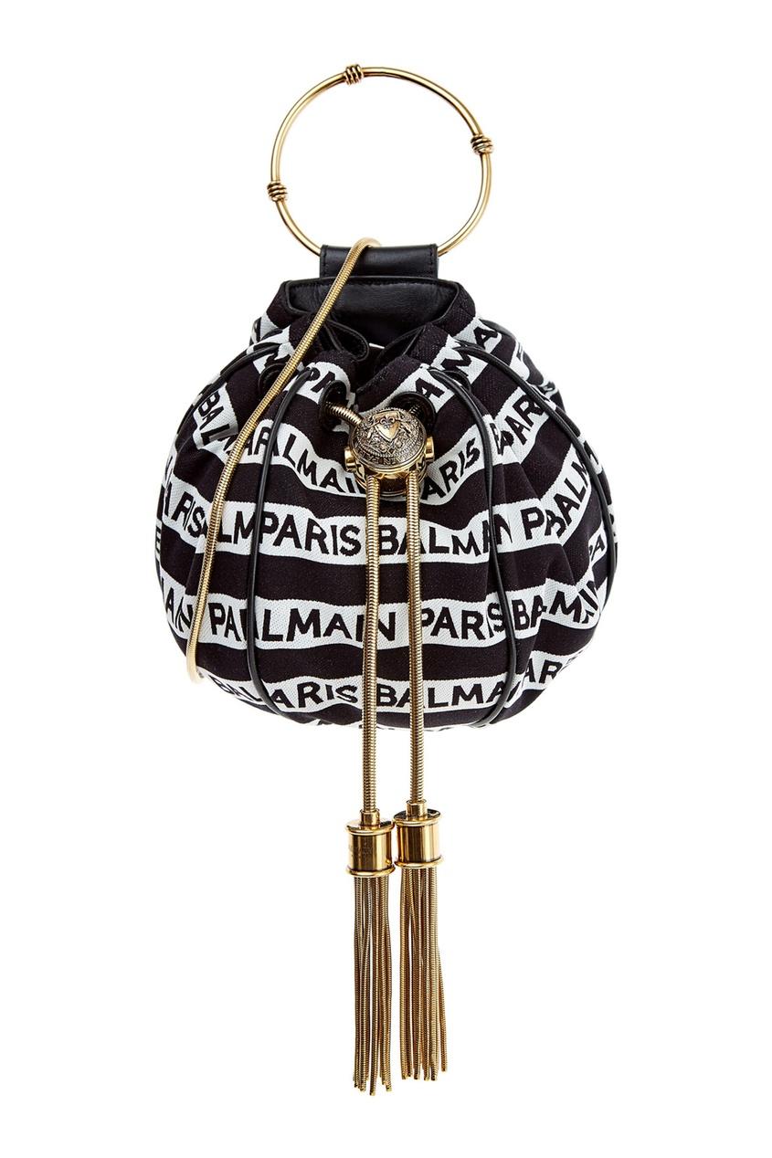 Купить Сумку-мешок в полоску Mini B-Bucket от Balmain черно-белого цвета