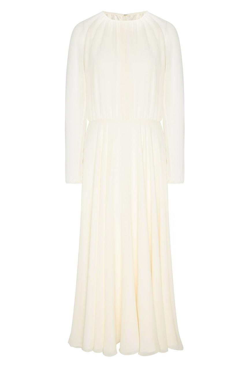 Купить Молочно-белое платье миди белого цвета