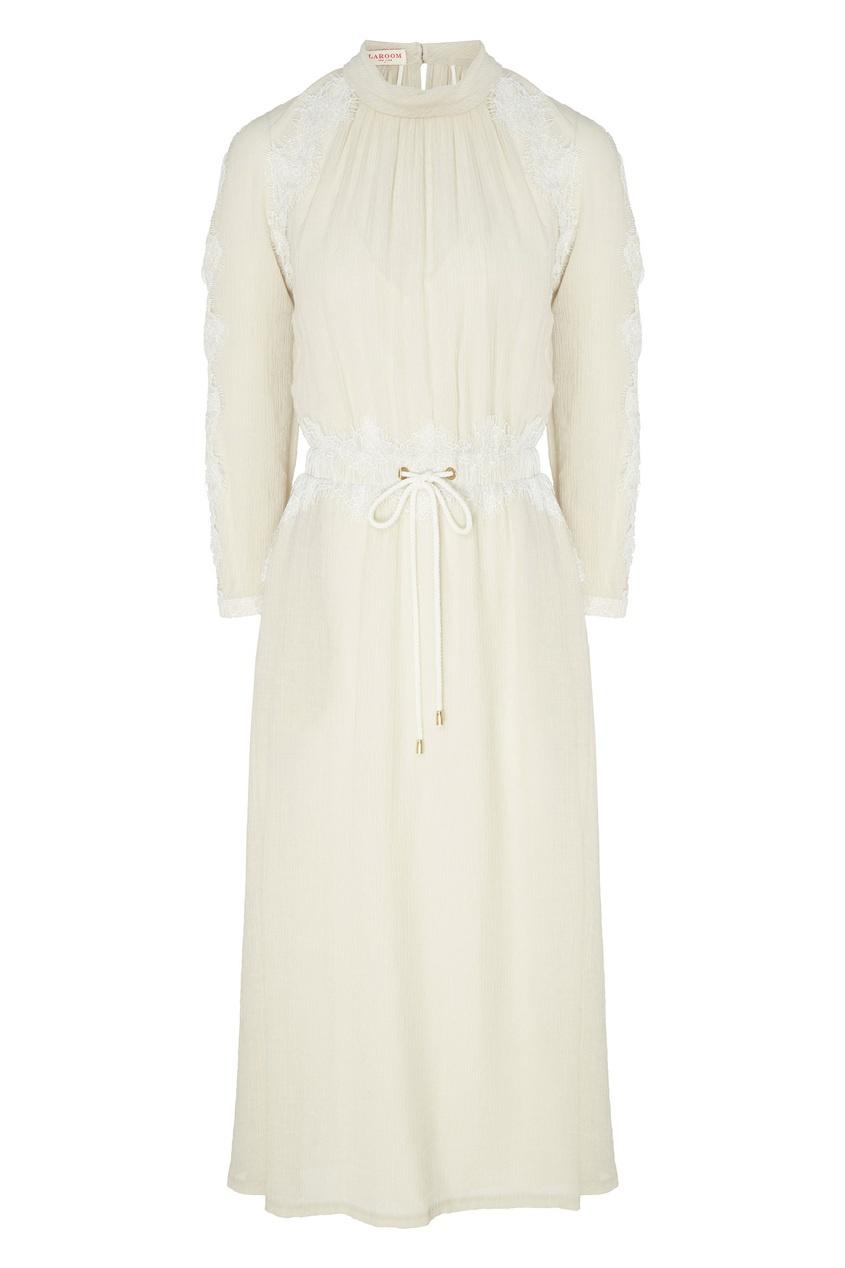 Купить Платье миди с кулиской зеленого цвета