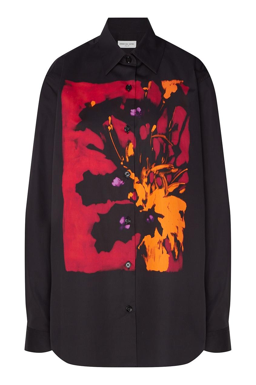Черная рубашка с орхидеей от Dries Van Noten