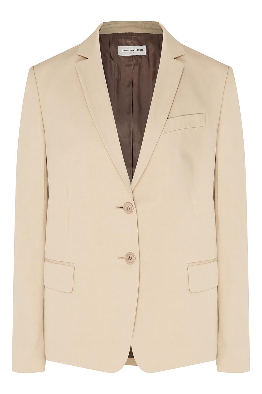 Купить Однобортный хлопковый пиджак от Dries Van Noten бежевого цвета