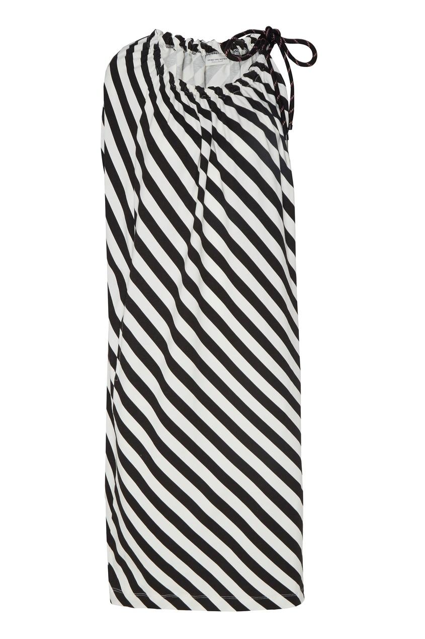 Купить Асимметричное платье в полоску от Dries Van Noten черно-белого цвета