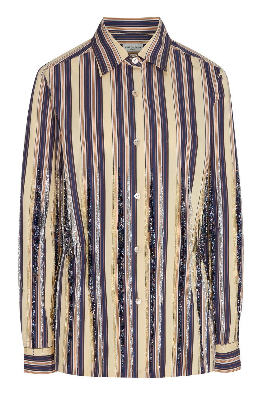 Купить Полосатая рубашка с бисером от Dries Van Noten бежевого цвета