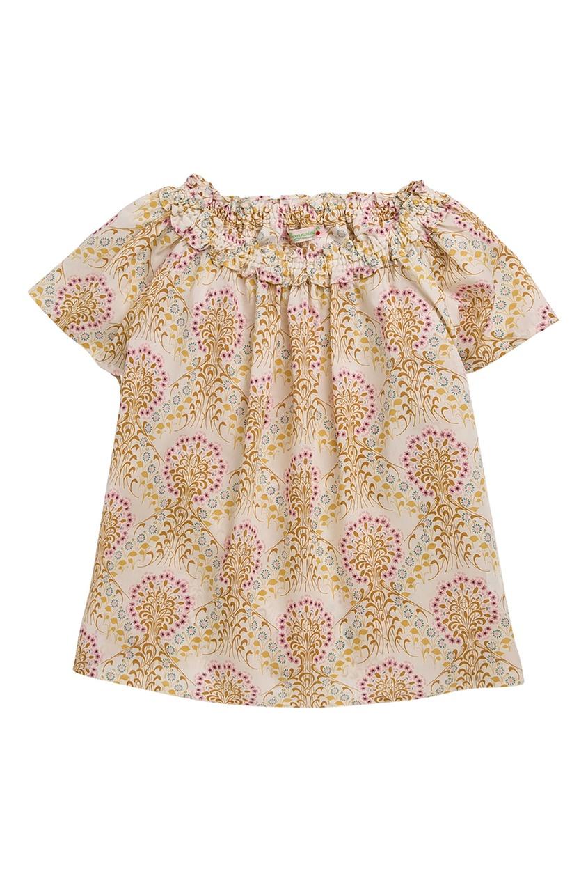 Бежевая блузка с короткими рукавами Bonpoint