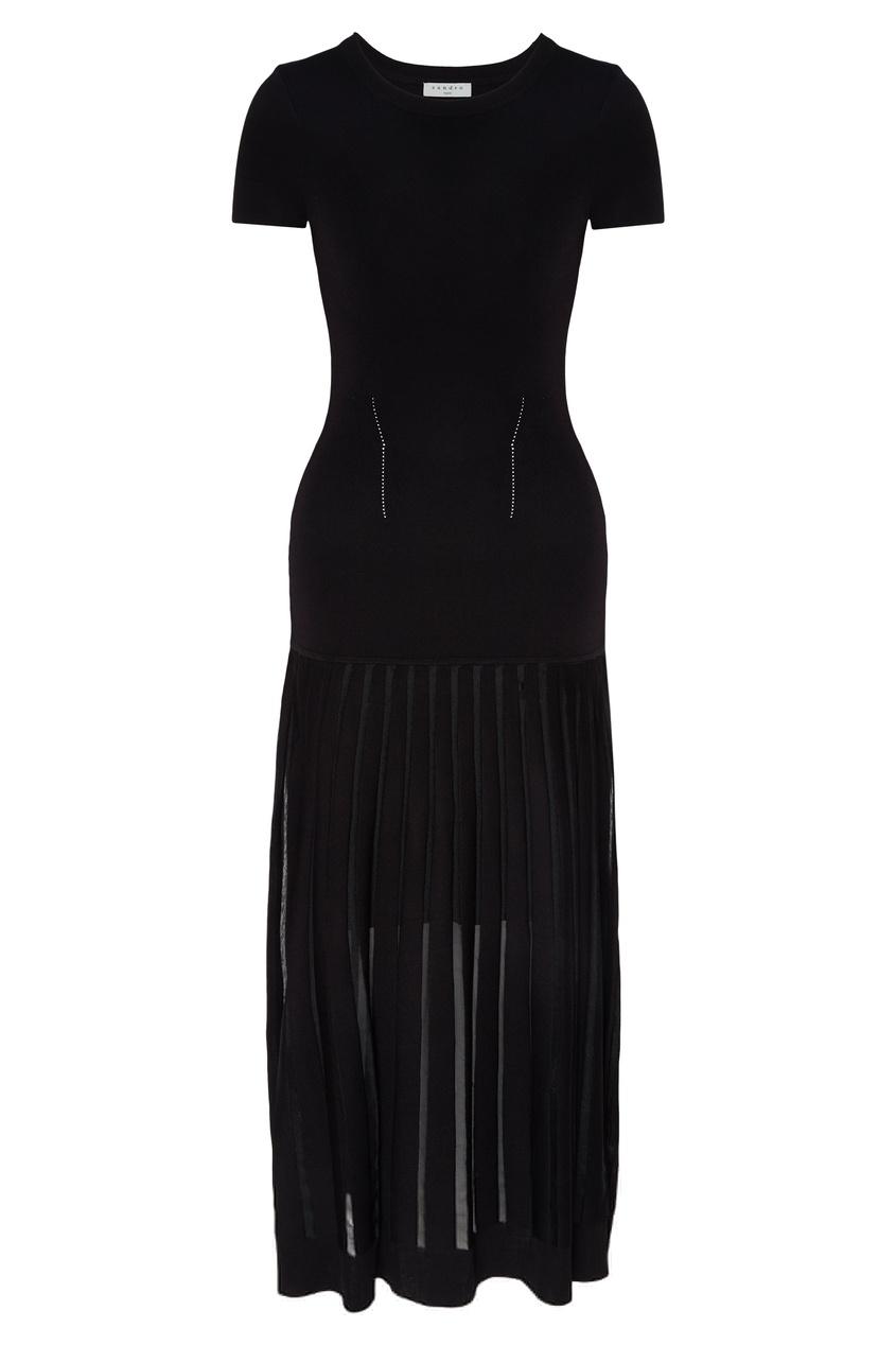 Купить Черное платье из вискозного трикотажа от Sandro черного цвета