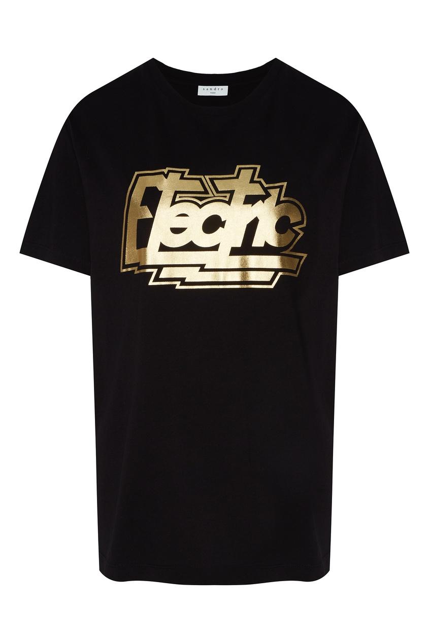 Купить Черная футболка с золотистой надписью от Sandro черного цвета