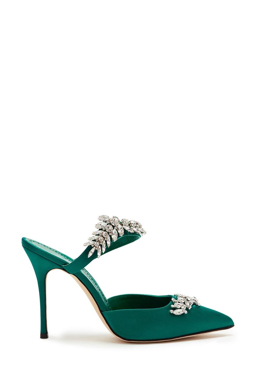 Купить Изумрудно-зеленые туфли Lurum 105 от Manolo Blahnik зеленого цвета