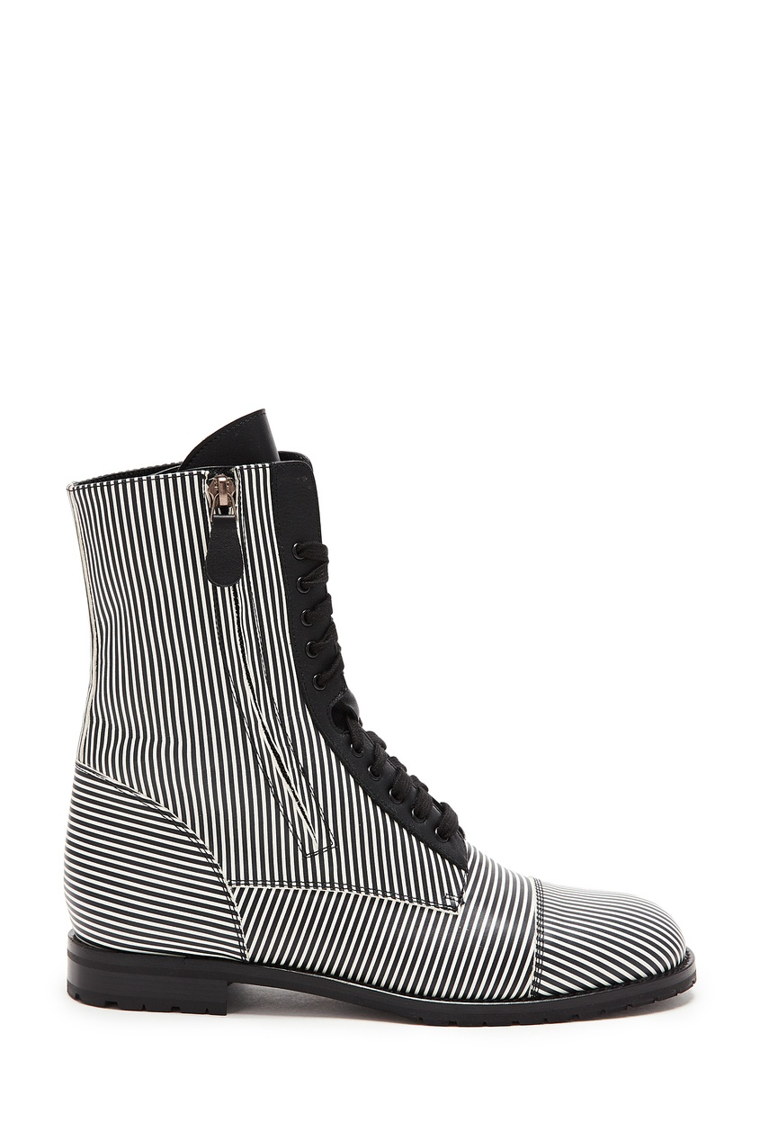 Черно-белые ботинки Campcha Stripes от Manolo Blahnik