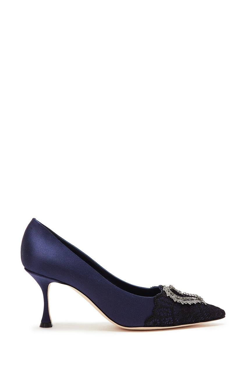 Купить Темно-синие туфли Gerontius 70 от Manolo Blahnik черного цвета