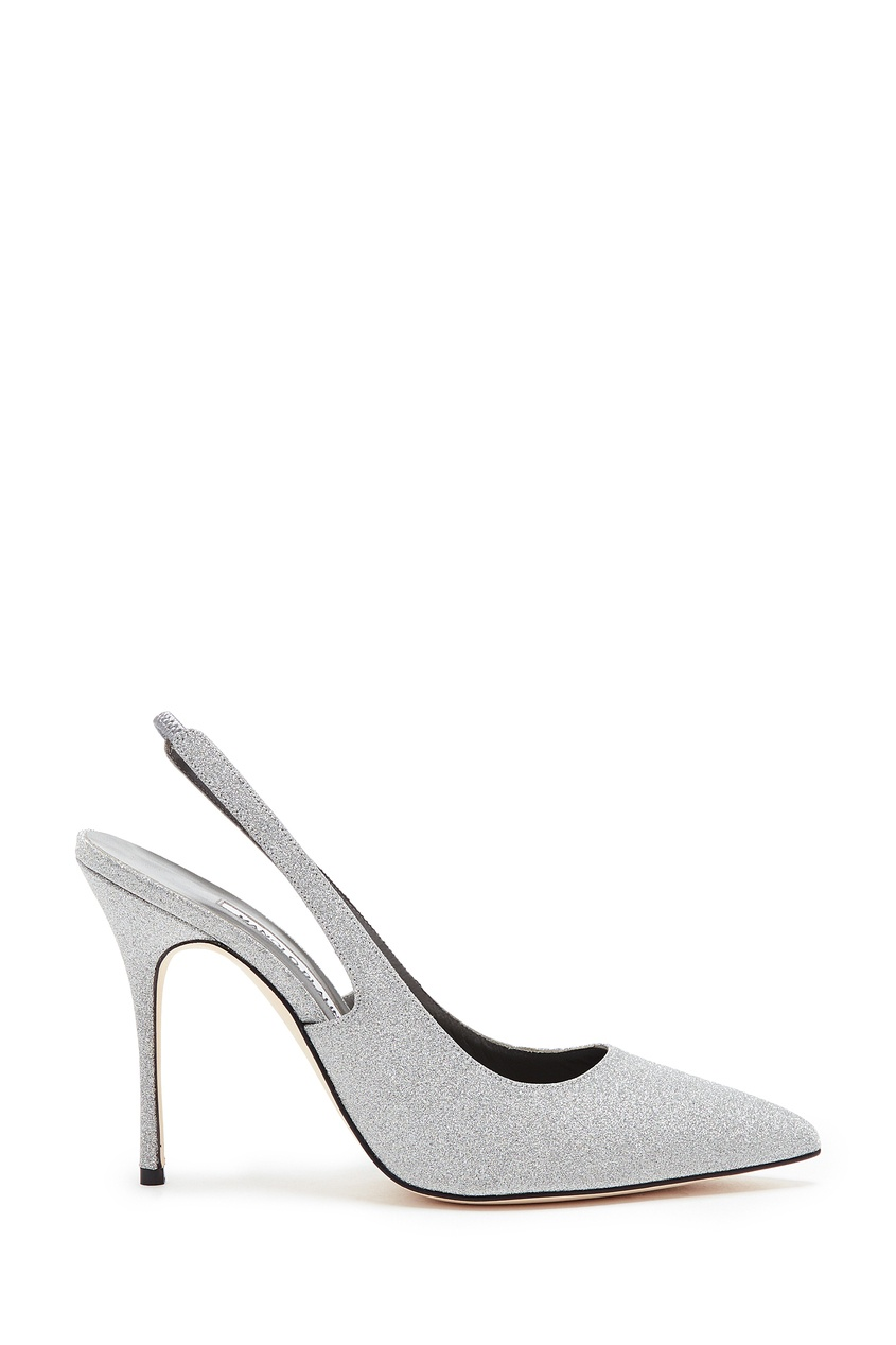 Серебристые туфли с глиттером Allura 105 от Manolo Blahnik