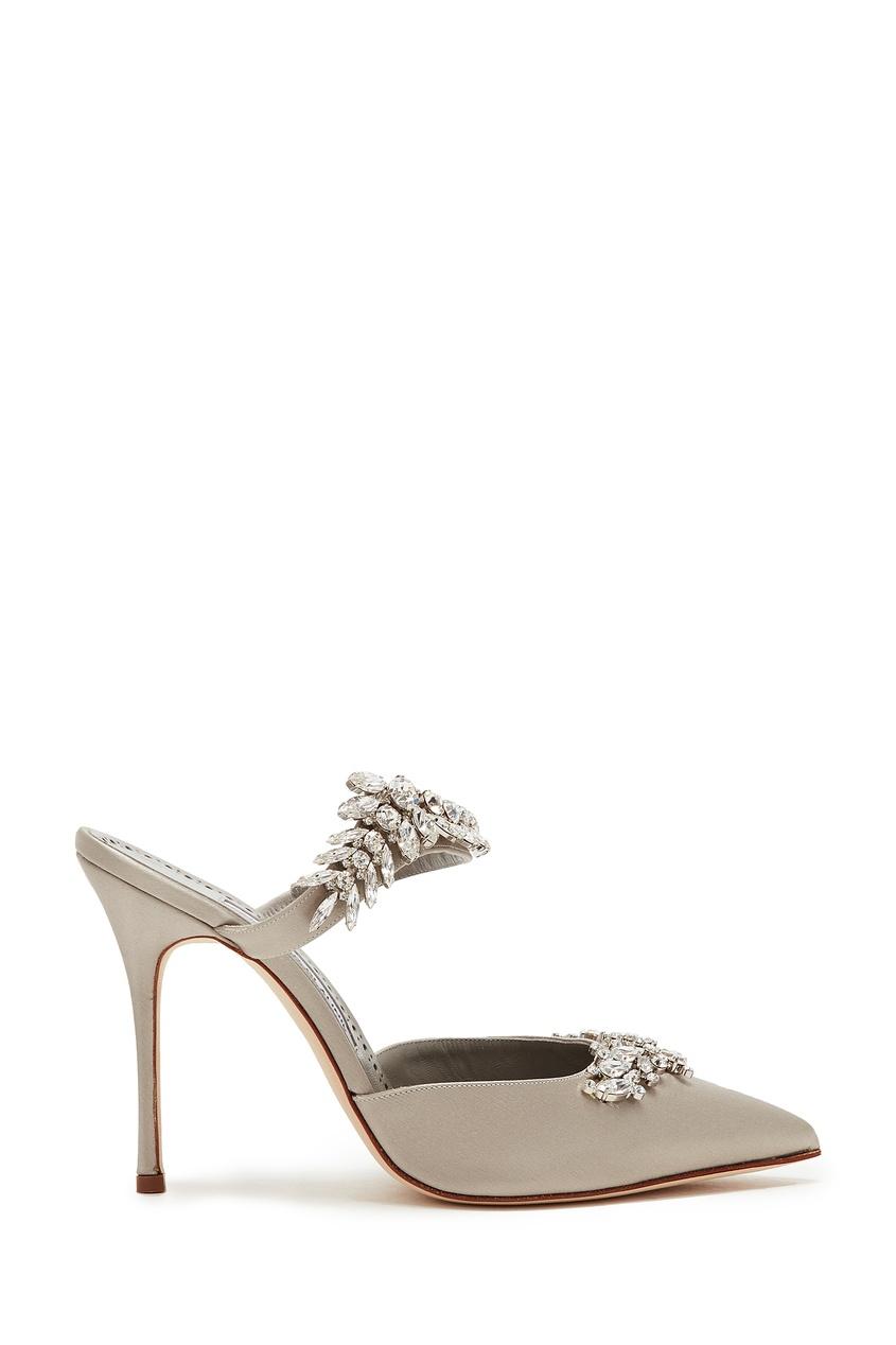 Серебристые туфли Lurum 105 от Manolo Blahnik