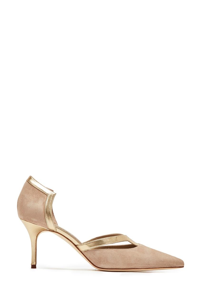 Купить Замшевые туфли с кожаной отделкой Paliata 70 от Manolo Blahnik коричневого цвета
