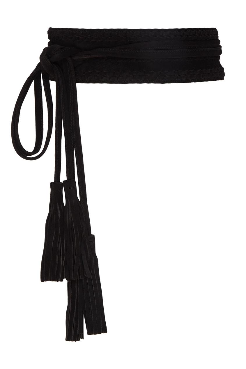 Купить Кожаный пояс с кистями от Maje черного цвета
