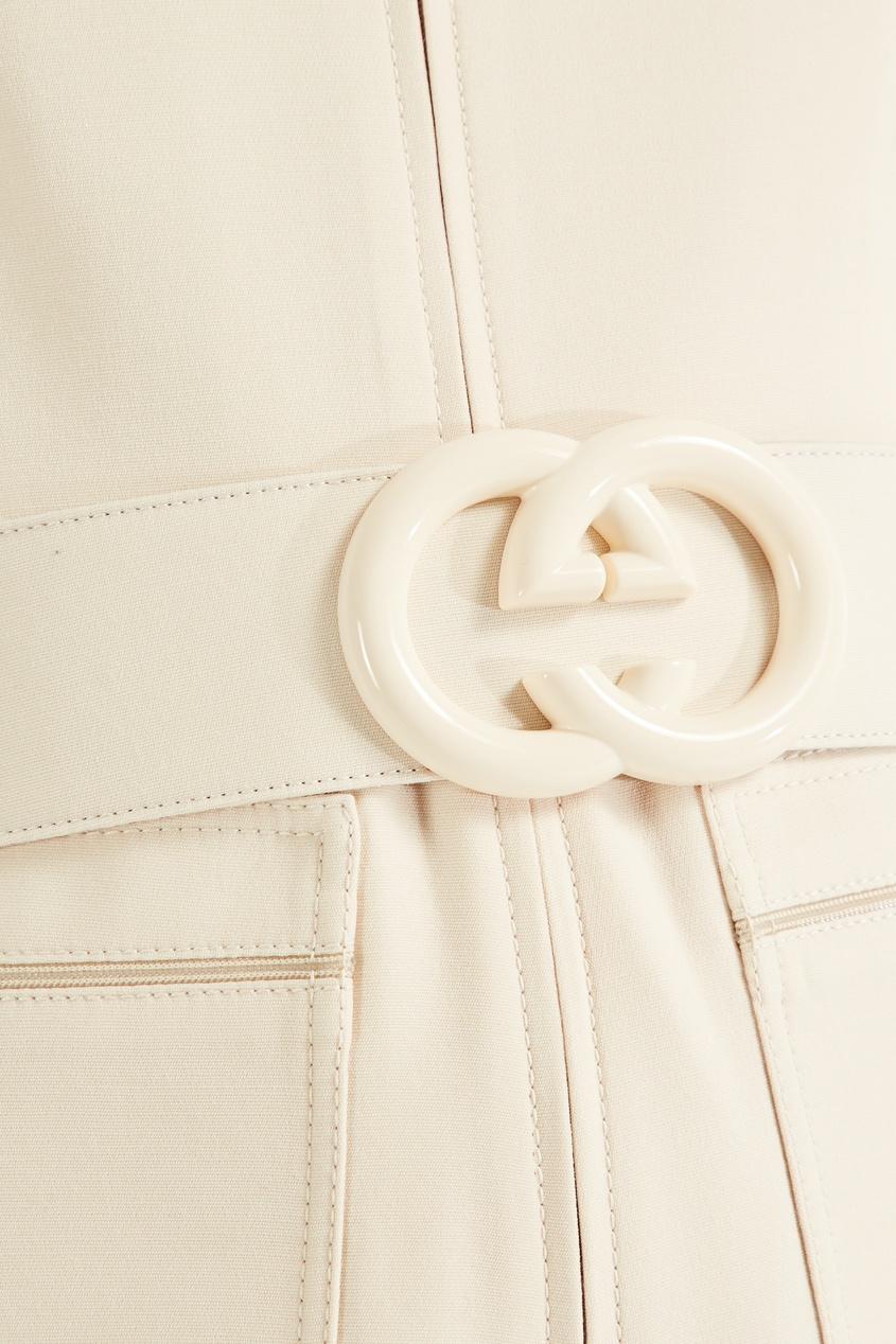 Фото 2 - Короткий комбинезон из шерсти и шелка от Gucci бежевого цвета