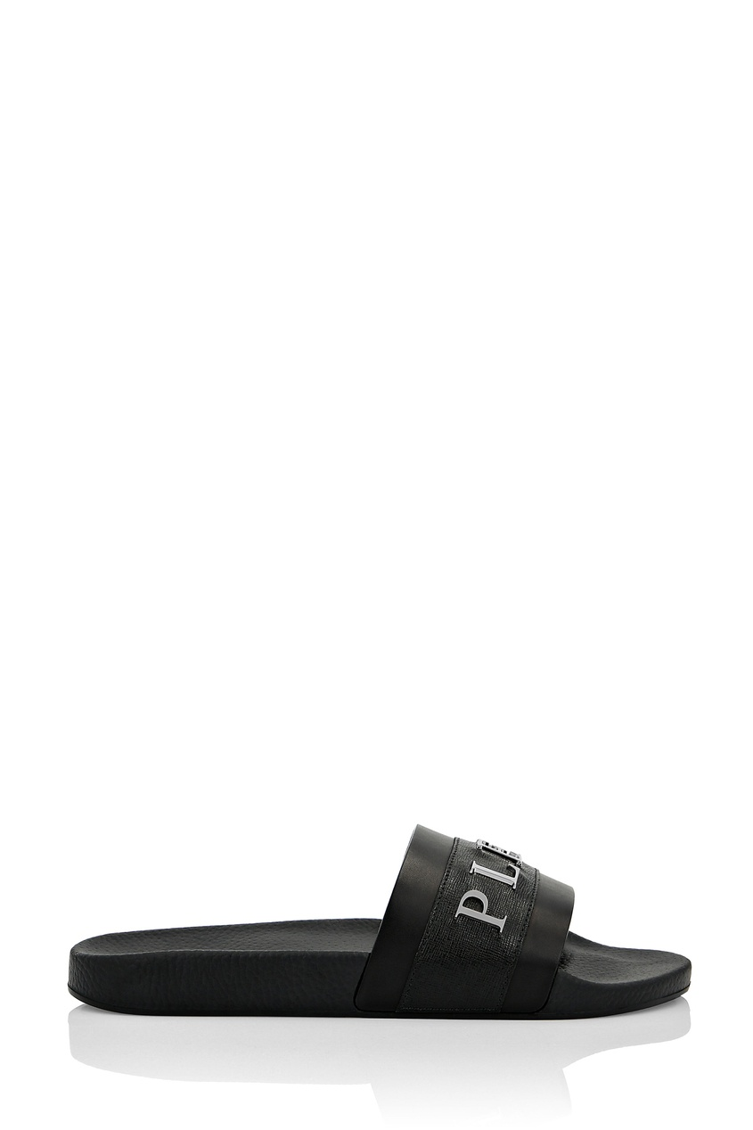 Черные шлепанцы с металлическим логотипом Philipp Plein