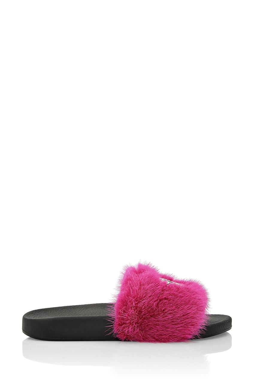 Купить Черные шлепанцы с розовым мехом от Philipp Plein розового цвета