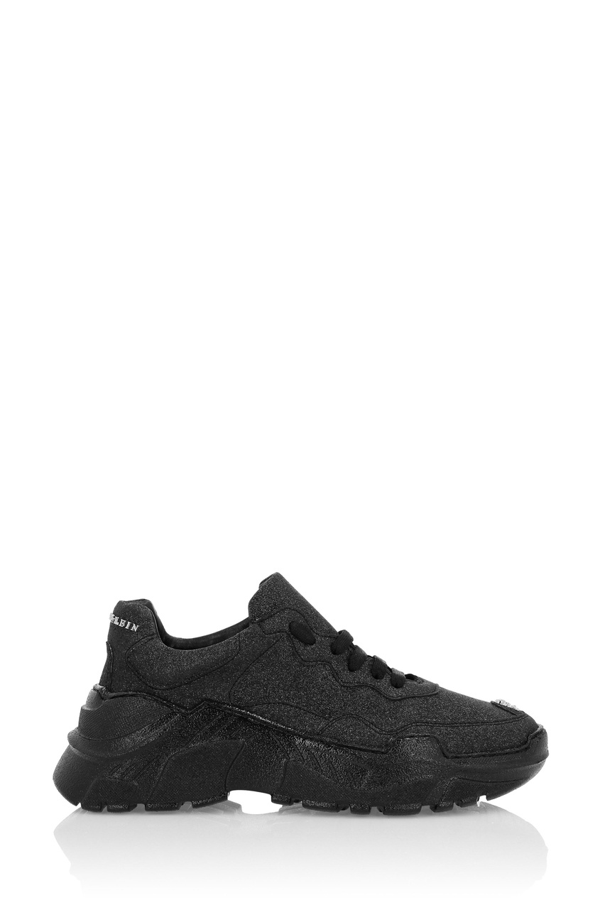Купить Черные кроссовки с глиттером от Philipp Plein черного цвета