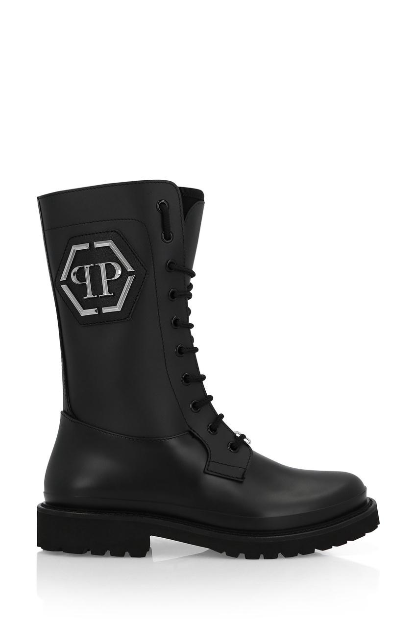 Купить Высокие ботинки из каучука от Philipp Plein черного цвета