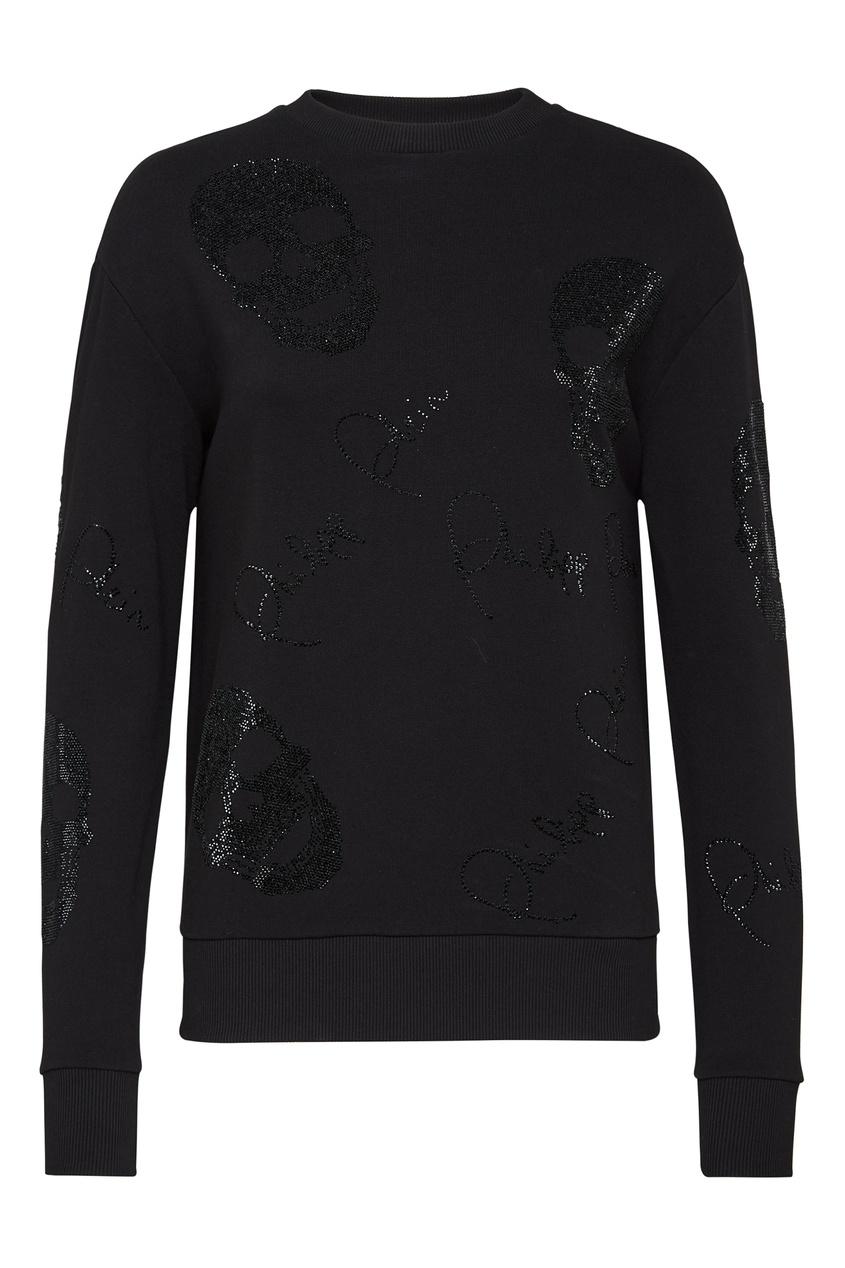 женский свитер philipp plein, черный