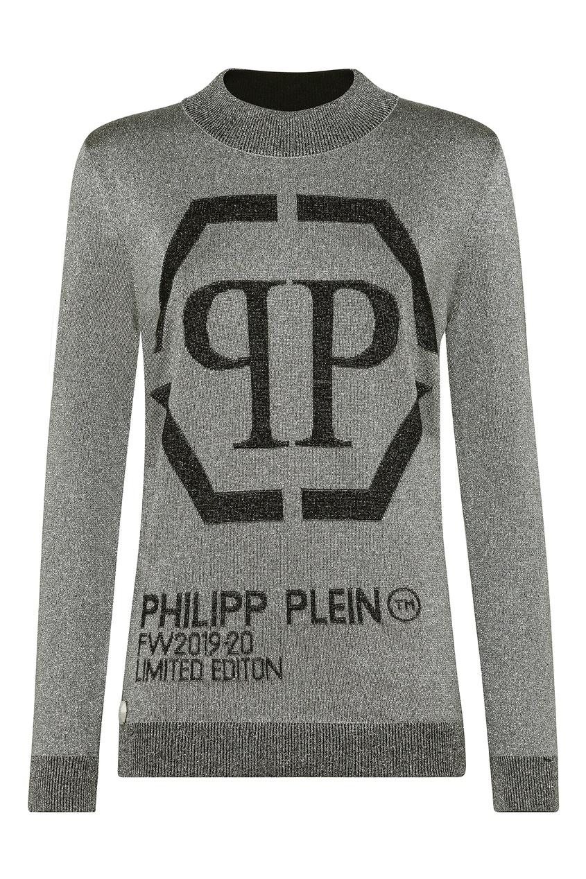 Купить Серый свитер с надписями от Philipp Plein серебрянного цвета
