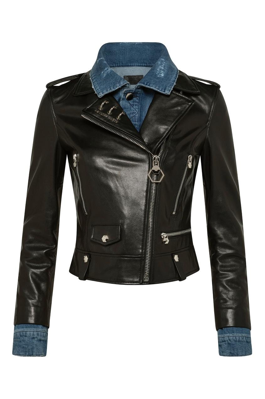 Купить Черная кожаная куртка-косуха от Philipp Plein черного цвета