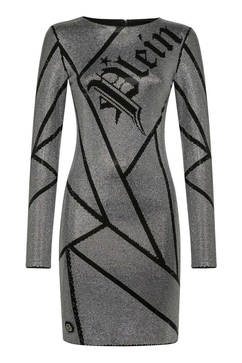 Купить Серебристое платье с кристаллами от Philipp Plein черного цвета