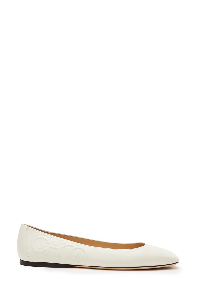 Купить Белые кожаные балетки Gwenevere от Jimmy Choo белого цвета