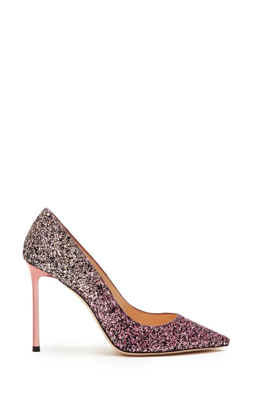 Купить Туфли с розовым и золотым глиттером Romy 100 от Jimmy Choo красного цвета