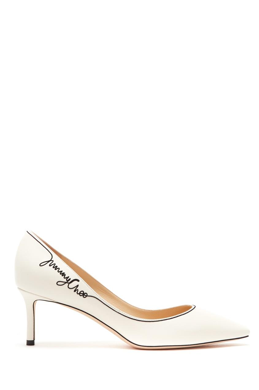 Купить Белые туфли с черным логотипом Romy 60 от Jimmy Choo белого цвета