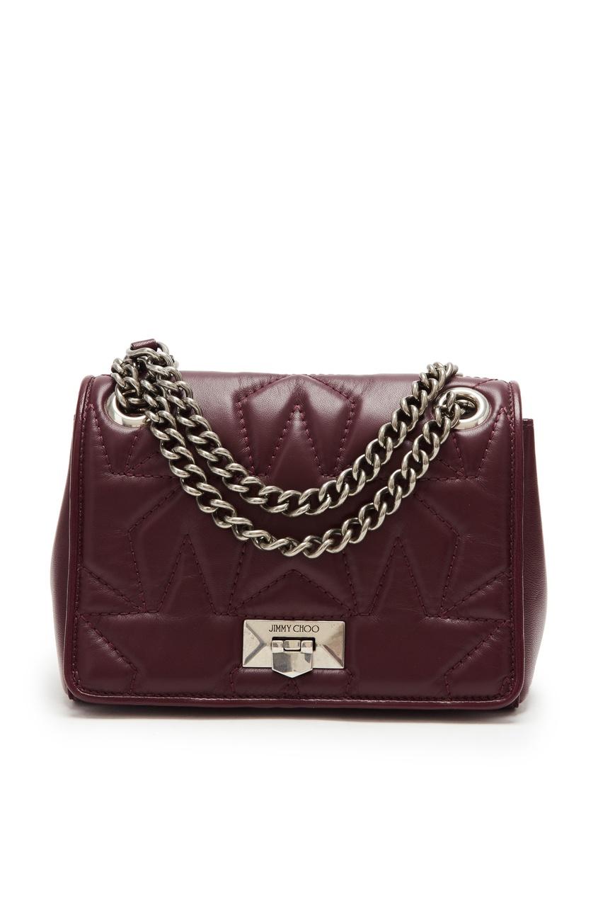 Купить Бордовая кожаная сумка Helia от Jimmy Choo красного цвета