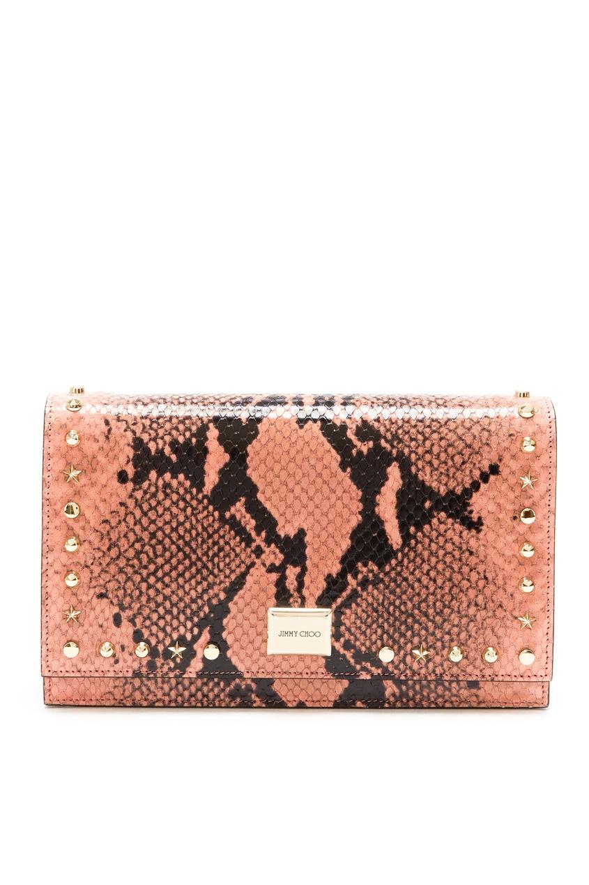 Купить Кожаная мини-сумка с принтом и заклепками Lizzie от Jimmy Choo коричневого цвета
