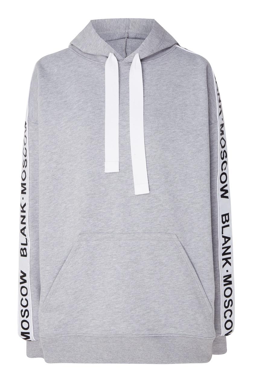 Купить Светло-серое худи с логотипом на рукавах от BLANK.MOSCOW серого цвета