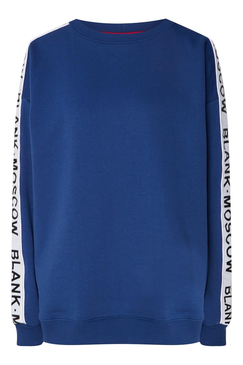 Купить Синий свитшот с логотипом на рукавах от BLANK.MOSCOW синего цвета