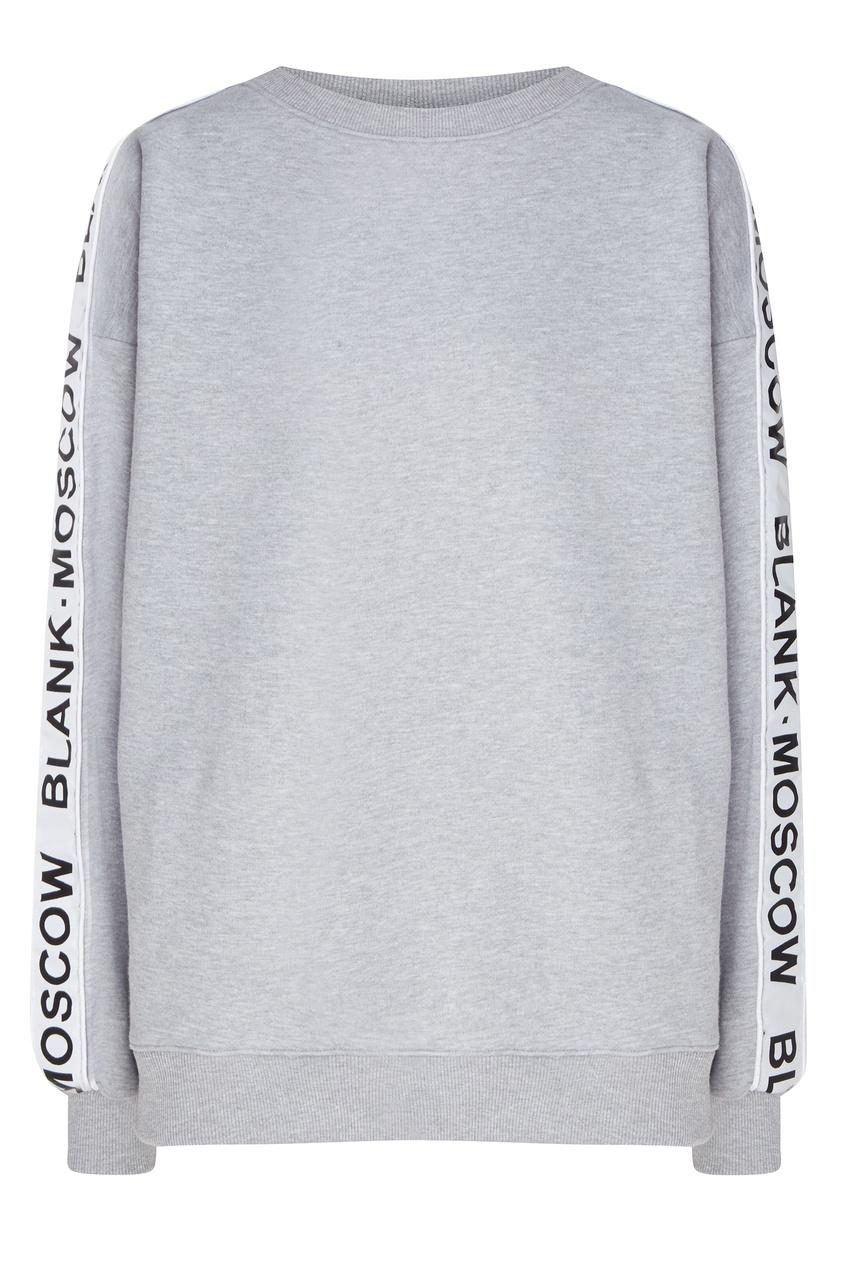 Купить Светло-серый свитшот с логотипом на рукавах от BLANK.MOSCOW серого цвета