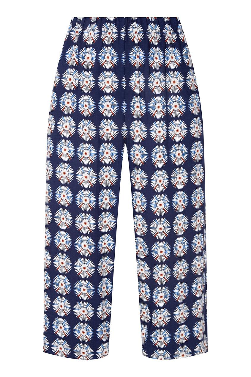 Купить Укороченные брюки с цветочным принтом от BLANK.MOSCOW синего цвета