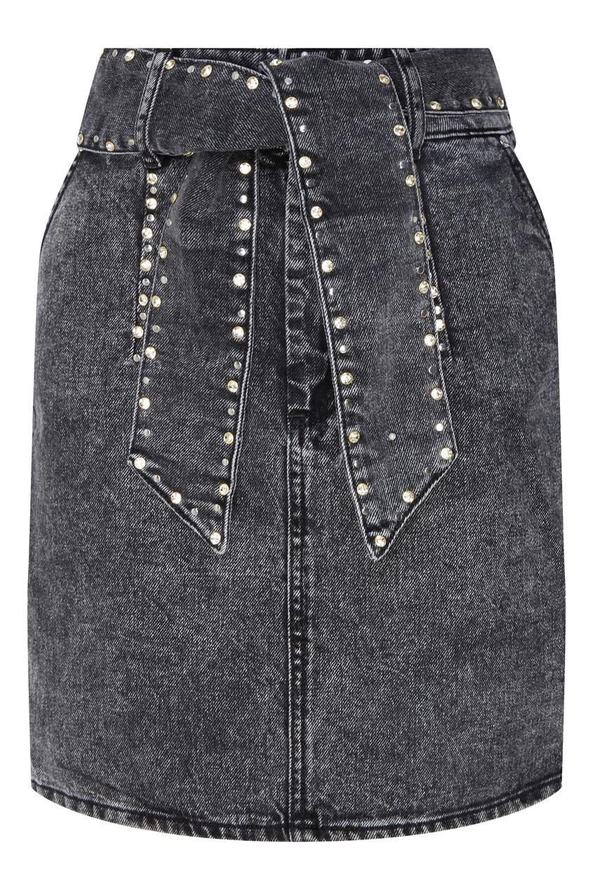 Купить Серая джинсовая юбка с заклепками от Sandro черного цвета