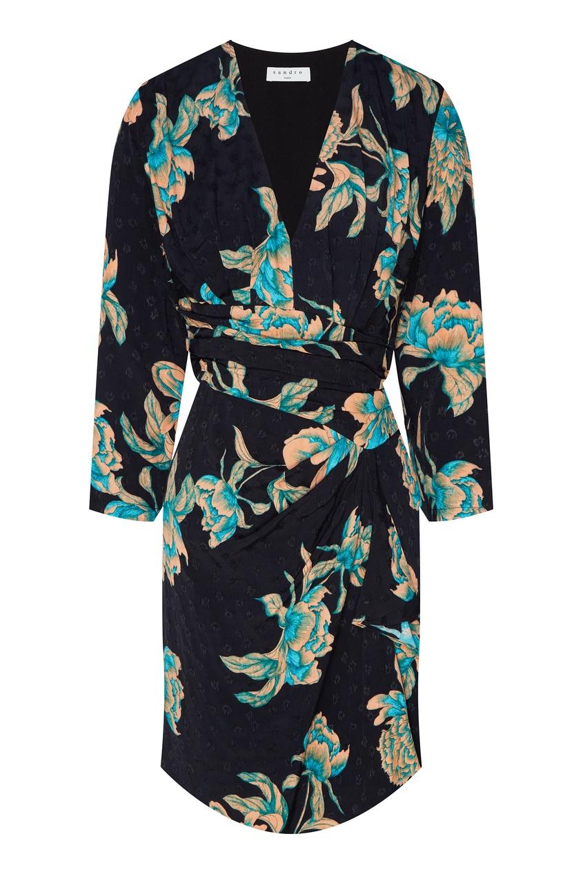 Купить Платье с драпировкой и цветочным принтом от Sandro черного цвета