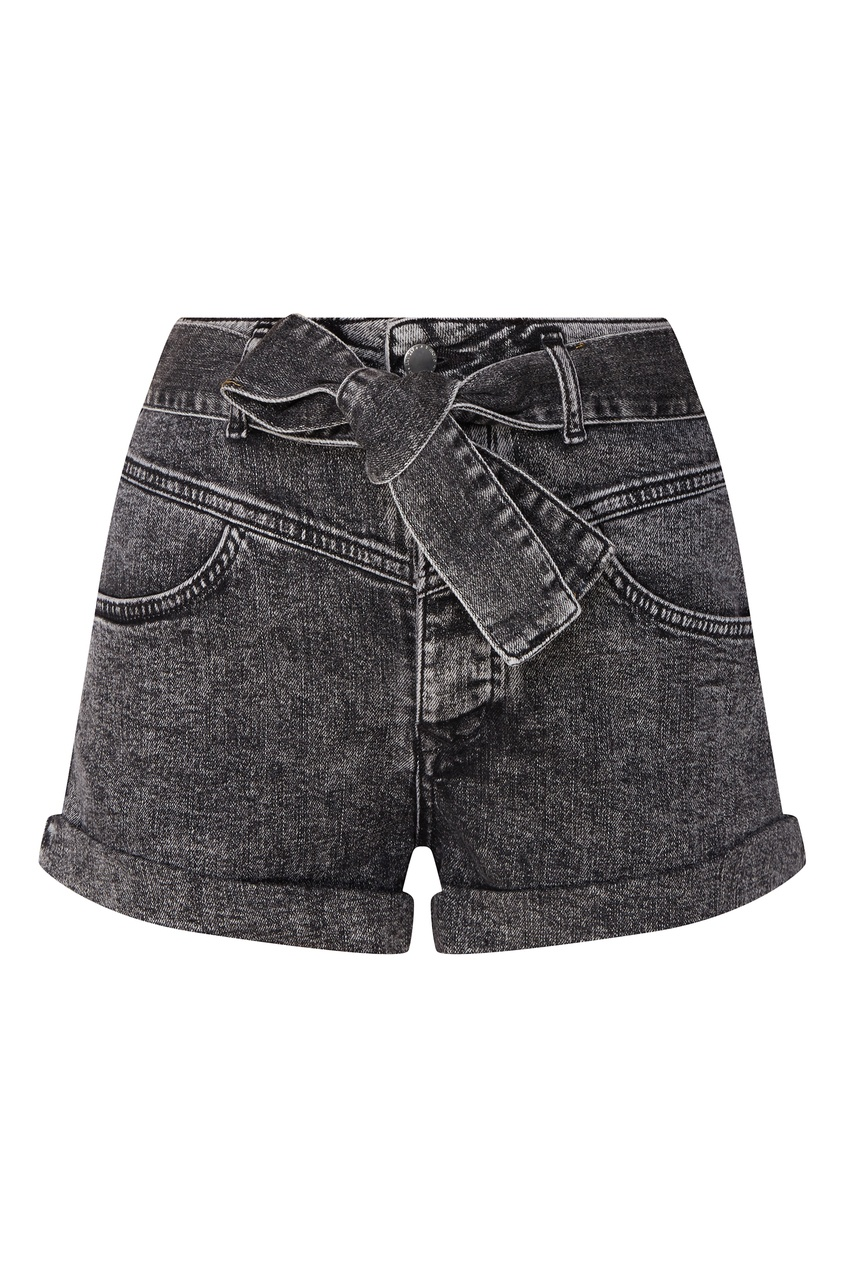 Купить Серые джинсовые шорты с поясом от Maje серого цвета