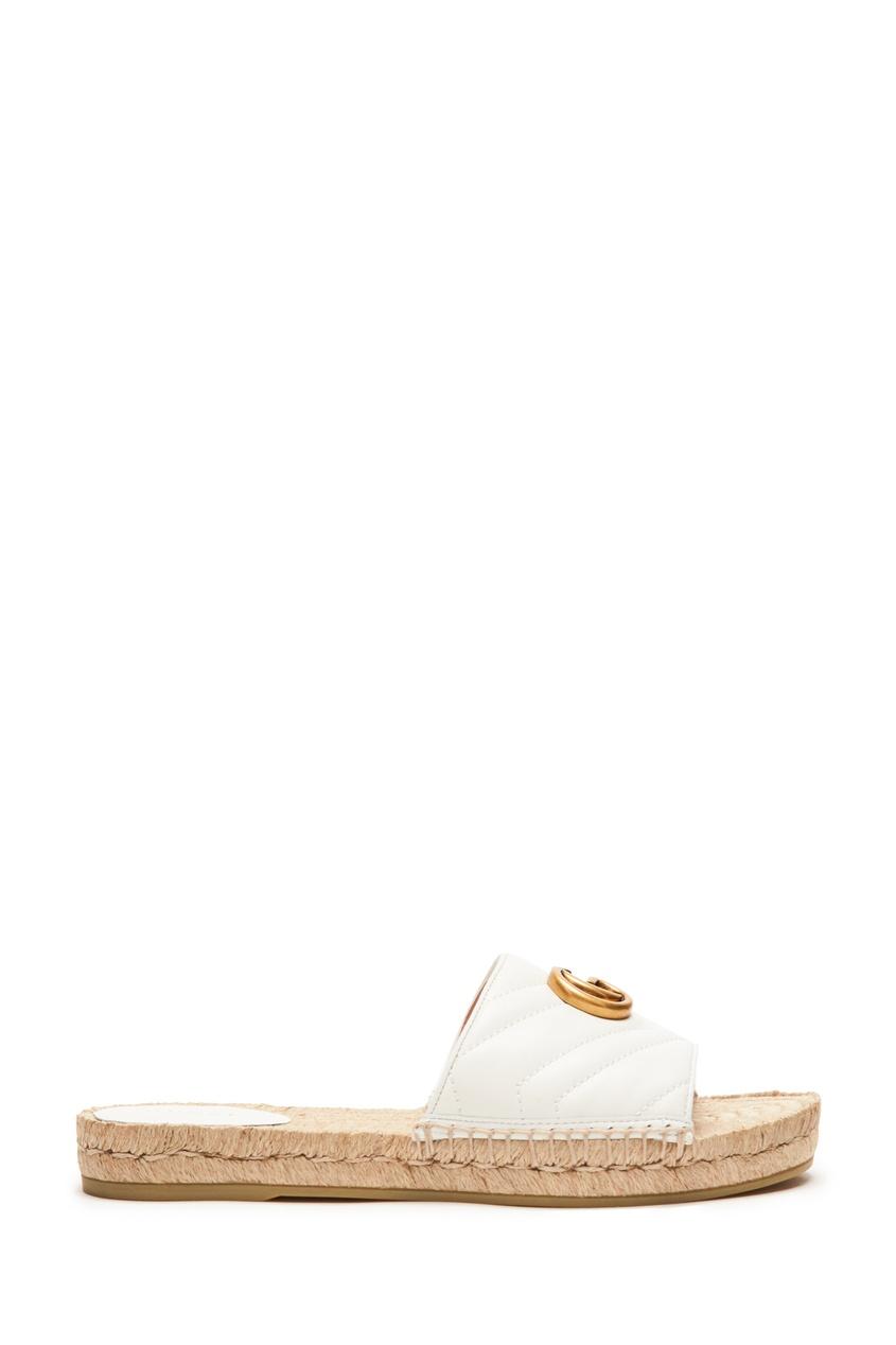 Купить Пантолеты с кожаным верхом и джутовой подошвой от Gucci белого цвета