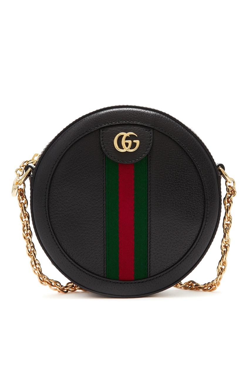 Купить Круглая мини-сумка Ophidia от Gucci черного цвета