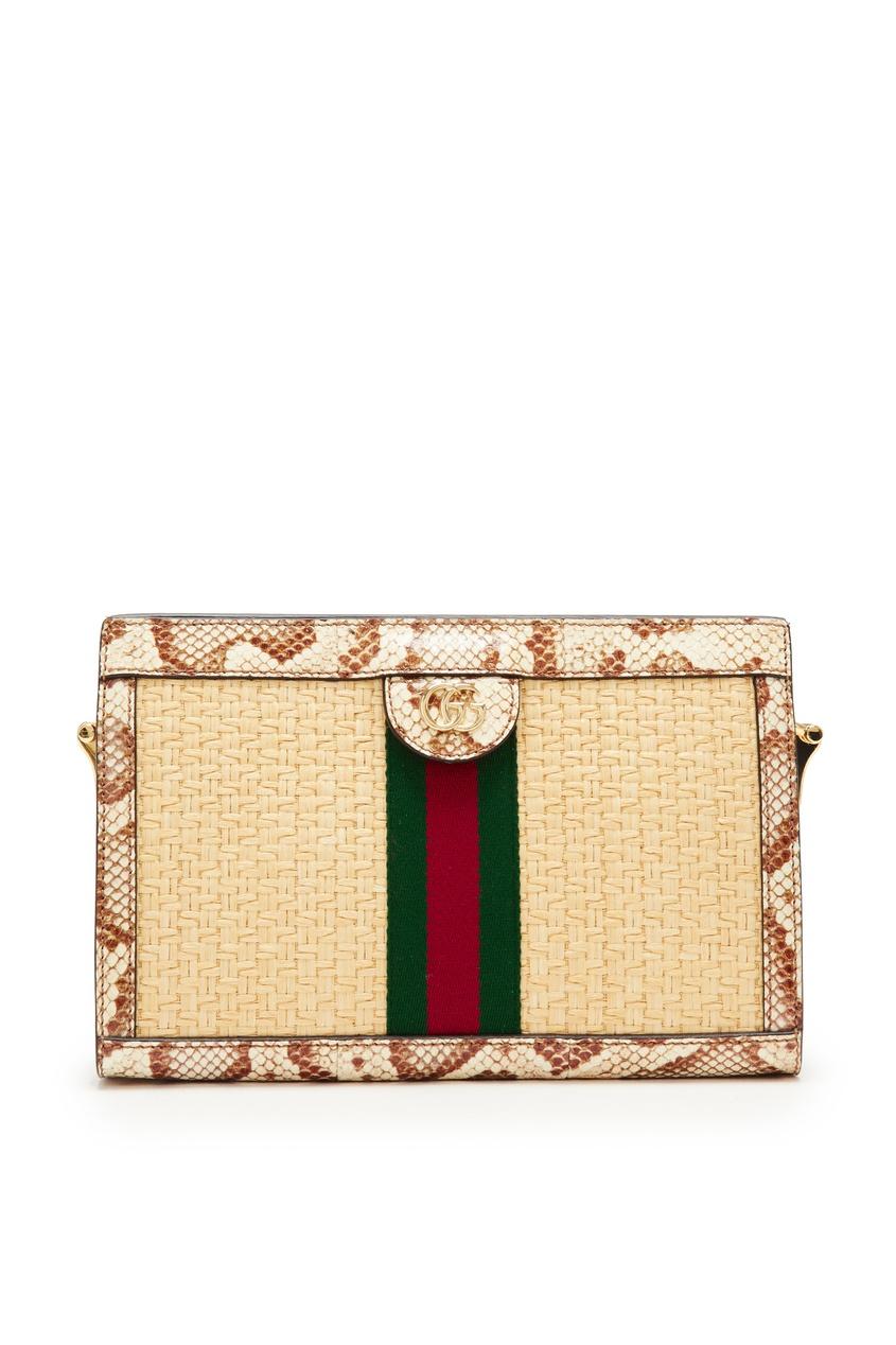 Купить Комбинированная сумка-кроссбоди Ophidia от Gucci бежевого цвета
