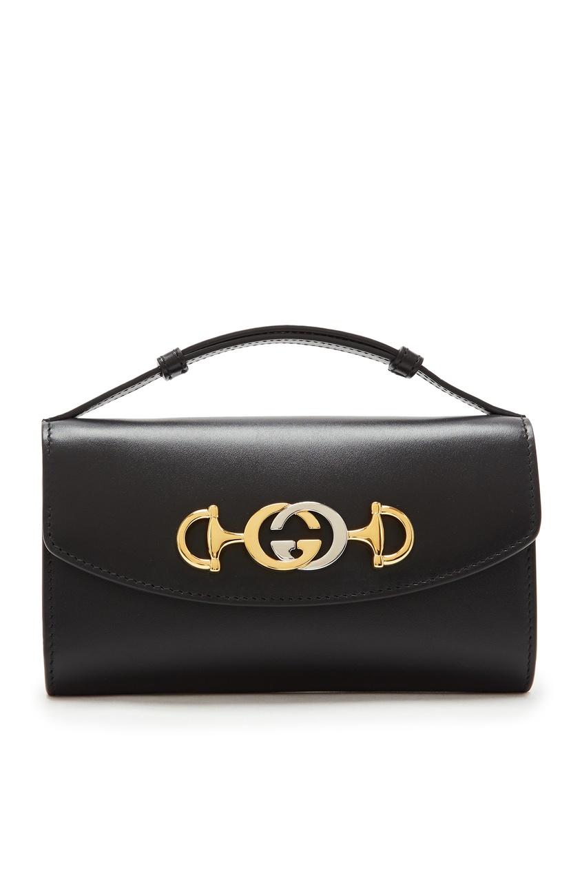 Купить Черная кожаная мини-сумка Zumi от Gucci черного цвета