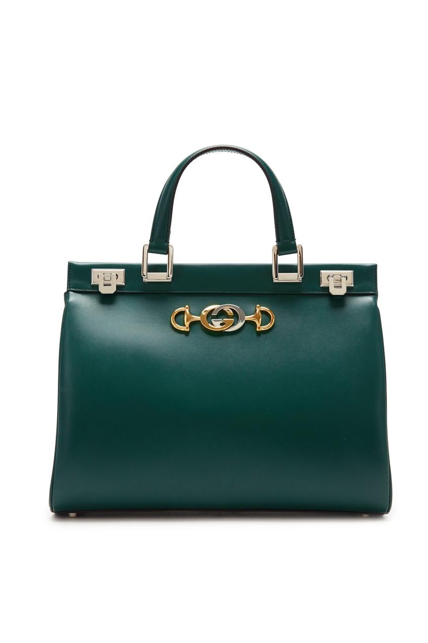 Купить Зеленая кожаная сумка Zumi от Gucci зеленого цвета