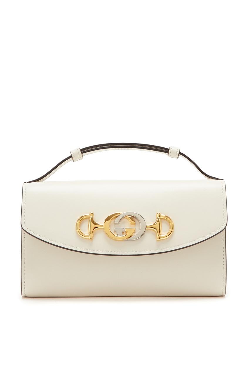 Купить Мини-сумка из гладкой белой кожи Zumi от Gucci белого цвета